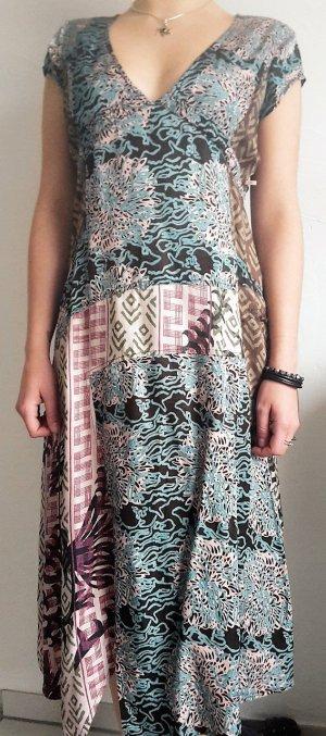 Holländ. Label DIDI Ausgefallenes Kleid zipfelig Mustermix Gipsy Boho Gr. M