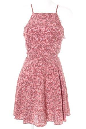 Hollister A-Linien Kleid weiß-ziegelrot abstraktes Muster Casual-Look