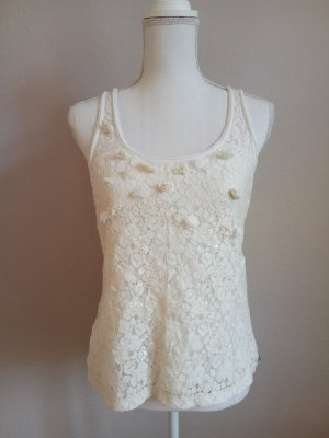 Hollister Abercrombie & Fitch M L Weiß Spitze Lace Creme Top