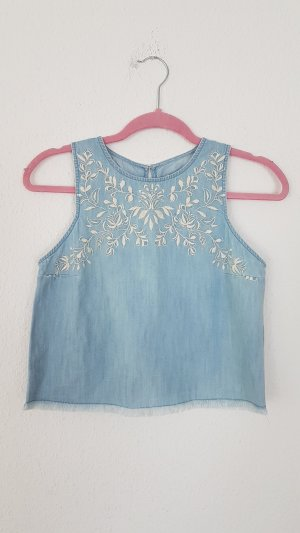 Hollister Abercrombie Frayed Denim Crop Top Bluse