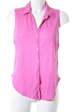 Hollister ärmellose Bluse pink meliert Casual-Look