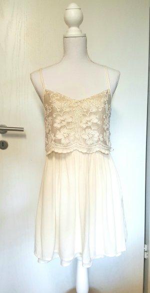 Hollister Babydoll-Kleid M Pailletten gold/creme/beige Spitze Boho Lace Glitzer