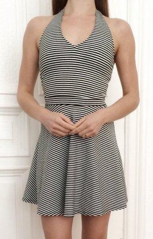 Hollister Baumwolle Kleid schwarz weiß gestreift Neckholder rückenfrei 34 XS S 36