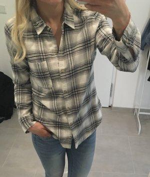 Hollister Bluse Hemd schwarz Weiß Blogger Holzfäller xs s 34 36