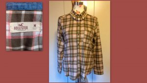 Hollister Bluse khaki/rosa in Größe M