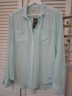 Hollister Bluse, mintblau, mit Strass und Neu mit Etikett
