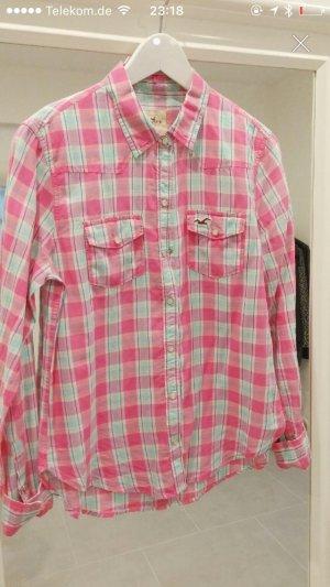 Hollister Bluse s xs 34 36 Oberteil Hemd Rose weiß pink blau