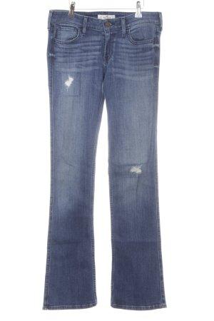 Hollister Boot Cut Jeans stahlblau Farbverlauf Bleached-Optik