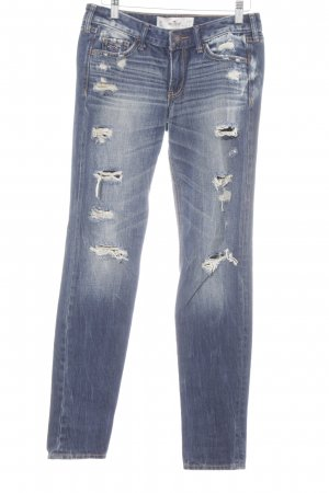 Hollister Boyfriend Jeans dark blue-natural white street-fashion look