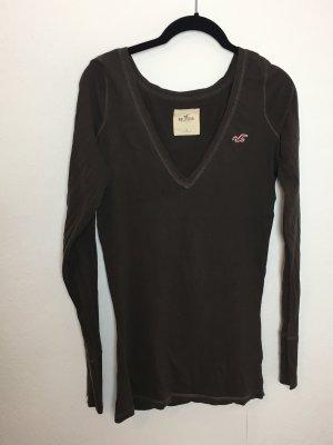 Hollister braun Pullover Sweatshirt Shirt V-Ausschnitt