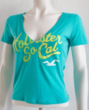 HOLLISTER by Abercrombie & Fitch ~ SOMMER V-NECK SHIRT MIT GLITZER ~ SIZE S