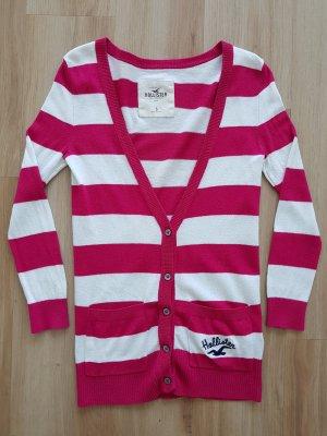 Hollister Cardigan Strickjacke gestreift weiß / pink Gr. S *** sehr guter Zustand ***