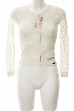Hollister Cardigan wollweiß abstraktes Muster Casual-Look