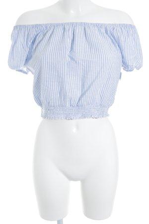 Hollister Carmen-Bluse weiß-babyblau Streifenmuster Romantik-Look