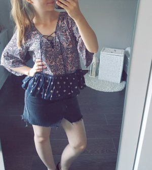 Hollister & Co. Bluse Tunika Muster floral Schösschen lace up