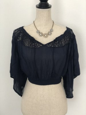 Hollister Crop Top, blau, Gr. XS, neu