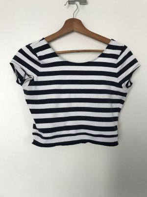 Hollister Cropped shirt wit-donkerblauw