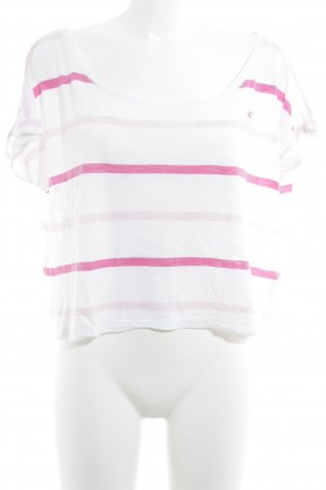 Hollister Cropped Shirt pink-weiß Streifenmuster Casual-Look