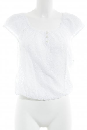 Hollister Cropped Shirt weiß Spitzen-Optik