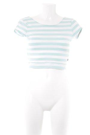 Hollister Cropped Shirt weiß-türkis Streifenmuster Casual-Look