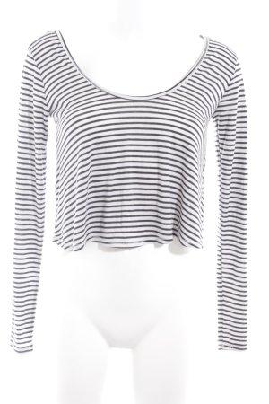 Hollister Cropped Shirt wollweiß-schwarz Streifenmuster Casual-Look