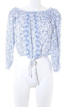 Hollister Top corto blu-bianco motivo floreale stile casual