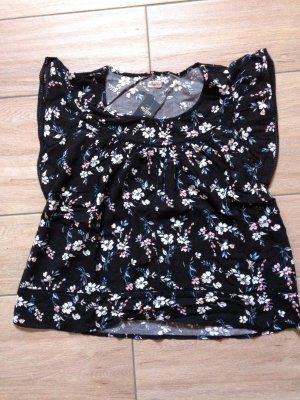 Hollister Damen T-Shirt Bluse Größe S schwarz mit Blumenmuster
