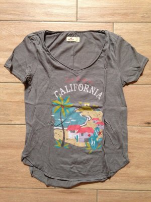 Hollister Damen T-Shirt Größe S hellgrau mit Aufdruck