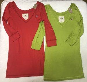 Hollister Damen V Neck Shirts Top Neu Grün und Rot L