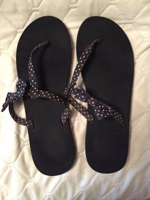 Hollister High-Heeled Toe-Post Sandals dark blue