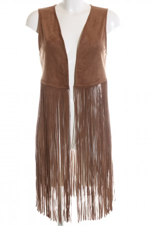 Hollister Fringed Vest nude striped pattern casual look