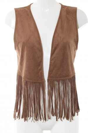 Hollister Fringed Vest brown casual look