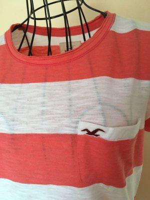 Hollister: Gestreiftes T-Shirt apricot/weiß