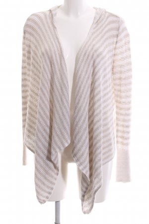 Hollister Coarse Knitted Jacket cream-white striped pattern casual look