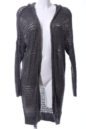 Hollister Coarse Knitted Jacket light grey weave pattern casual look