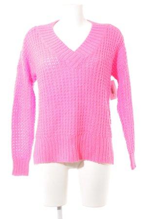 Hollister Grobstrickpullover neonpink Webmuster Street-Fashion-Look