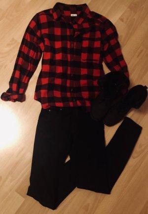 Hollister Houthakkershemd zwart-donkerrood