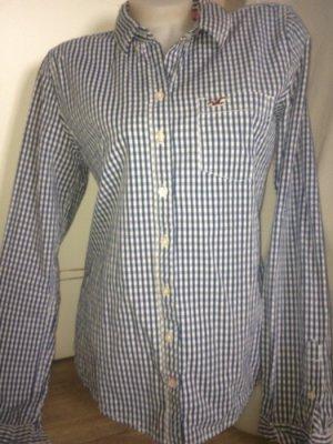 Hollister Hemd Bluse Gr.40 L Top Blau Weiß Kariert Karo
