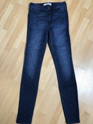 Hollister Pantalon taille haute bleu acier-bleu foncé coton