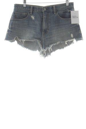 Hollister High-Waist-Shorts blau Destroy-Optik