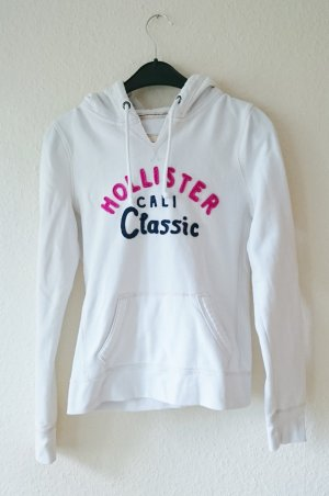 Hollister Hoodie Pulli weiß pink blau 36 38 S M