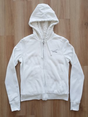Hollister Hoodie Sweatshirtjacke Sweatjacke Jacke mit Pailletten weiß Gr. S *** sehr guter Zustand ***