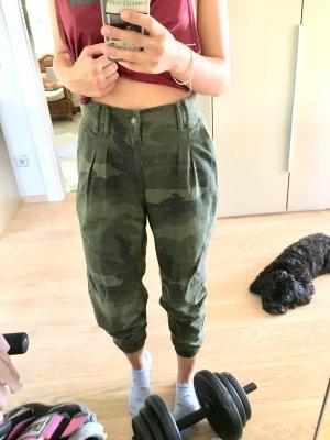 Hollister Pantalon large noir-vert foncé