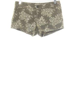 Hollister Hot Pants goldfarben-olivgrün florales Muster extravaganter Stil