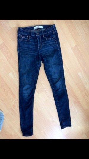 Hollister Jeans dunkelblau high waste 25 super Skinny