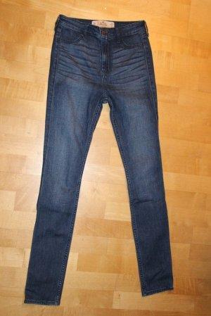 Hollister Jeans taille haute bleu foncé tissu mixte