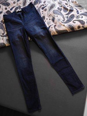 Hollister High Waist Trousers dark blue cotton