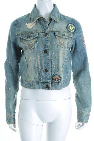Hollister Jeansjacke blassblau-wollweiß Skater-Look