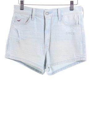 Hollister Jeansshorts himmelblau-wollweiß Streifenmuster Casual-Look