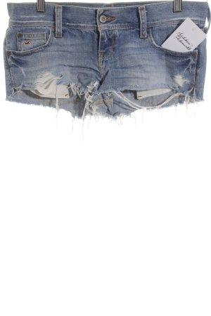 Hollister Jeansshorts kornblumenblau-weiß Beach-Look
